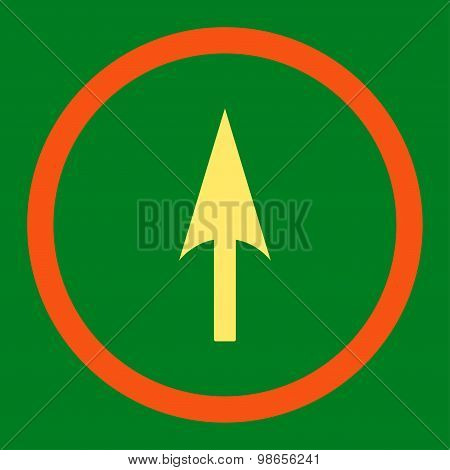 Arrow Axis Y flat orange and yellow colors rounded raster icon