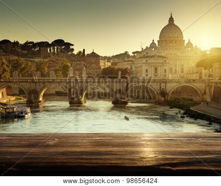 St Peter Basilica in Vatican and wooden surface