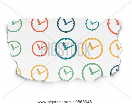 Timeline concept: Clock icons on Torn Paper background
