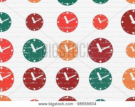 Time concept: Clock icons on wall background