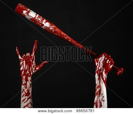 Bloody Hand Holding A Baseball Bat, A Bloody Baseball Bat, Bat, Blood Sport, Killer, Zombies, Hallow