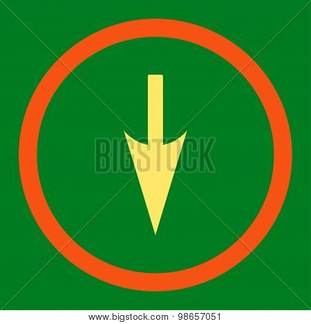 Sharp Down Arrow flat orange and yellow colors rounded raster icon