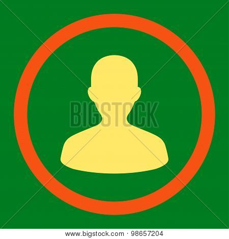 User flat orange and yellow colors rounded raster icon
