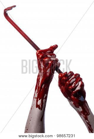 Bloody Hands With A Crowbar, Hand Hook, Halloween Theme, Killer Zombies, White Background, Isolated,