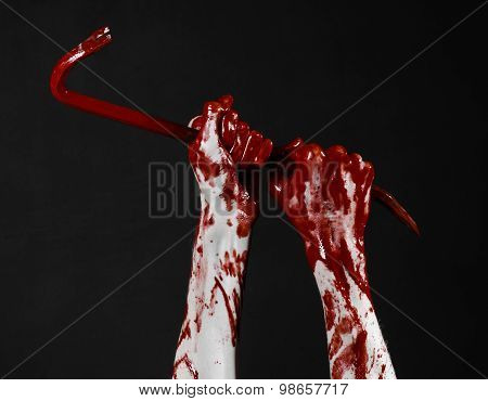 Bloody Hands With A Crowbar, Hand Hook, Halloween Theme, Killer Zombies, Black Background, Isolated,