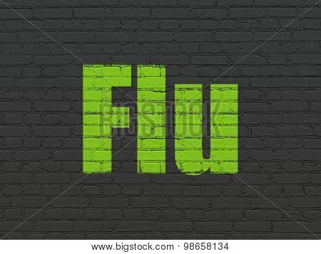 Medicine concept: Flu on wall background