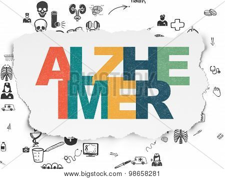 Health concept: Alzheimer on Torn Paper background