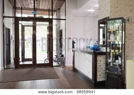 Lobby interior in hotel, fitness club, restaurant and so on