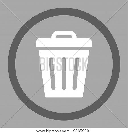 Trash Can flat dark gray and white colors rounded raster icon