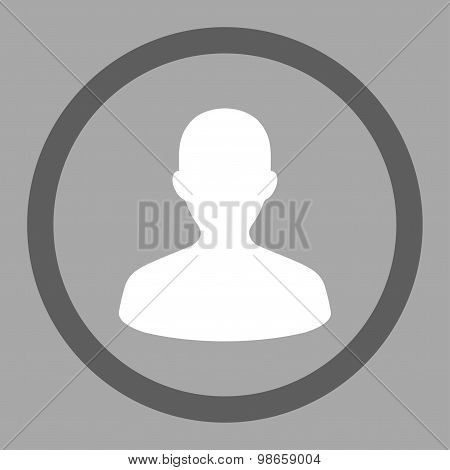 User flat dark gray and white colors rounded raster icon