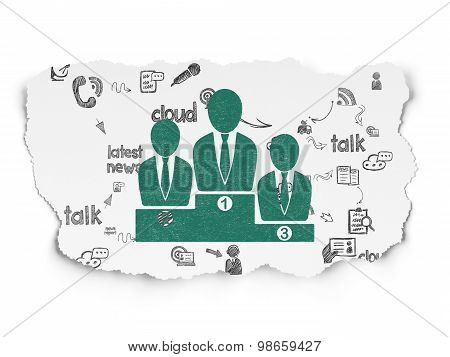 News concept: Business Team on Torn Paper background