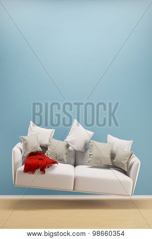 Light and weightless sofa flying in a living room (3D Rendering)