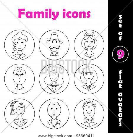 Set Of 9 Flat Family Icons
