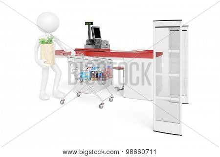 White 3D Guy standing at supermarket checkout with electronic alarm system (3D Rendering)