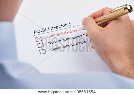 Businessperson Filling Audit Checklist Form
