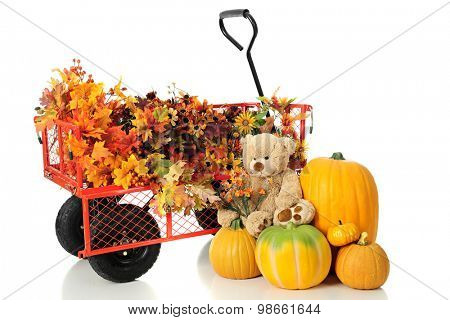 A work wagon full of colorful fall foliage.  A pile of pumpkins and a toy bear holding a bouquet of tiny fall flowers sits nearby.  On a white background.
