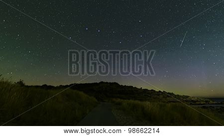 Perseid Shooting Star Near The Big Dipper, This Is An Actual Shooting Star And Not A Satellite Trace