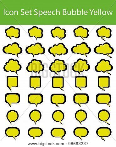 Icon Set Speech Bubble Yellow