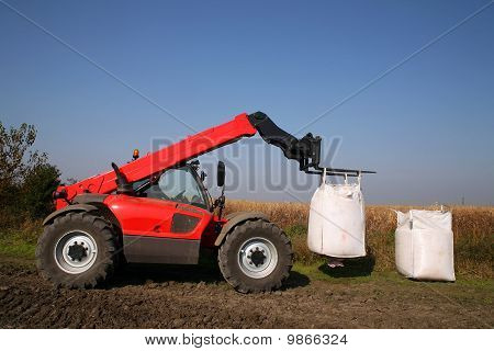 Agricultural Machinery With Bag Of Weath Seeds