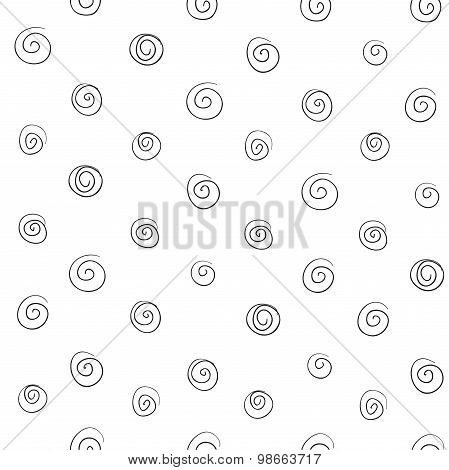Seamless Pattern Of Abstract Curls Spirals Of Thin Black Lines On A White Background
