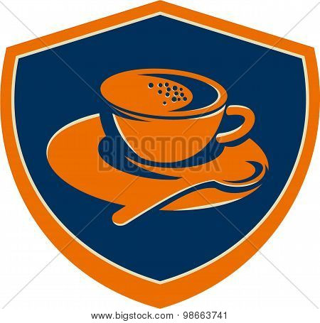 Coffee Cup Teaspoon Crest Retro