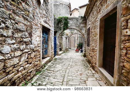 Arched medieval street in a European village