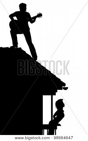 EPS8 editable vector silhouette of a man serenading a woman by playing guitar on a roof with figures as separate objects