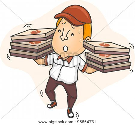 Illustration of a Delivery Man Struggling to Keep His Balance