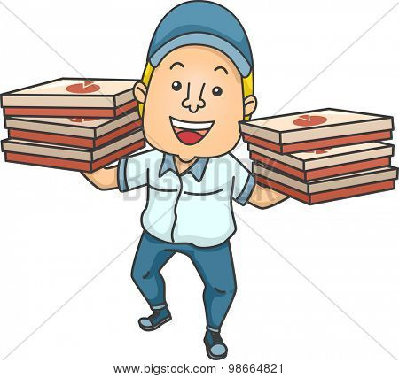 Illustration of a Delivery Man Carrying Boxes of Pizza in Both Hands