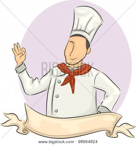 Illustration of a Male Chef with a Ribbon in Front of Him Doing the Okay Sign