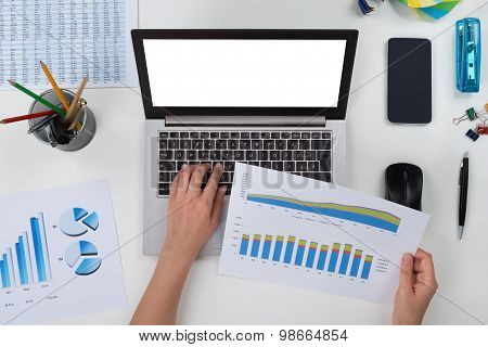 Person With Laptop And Graph