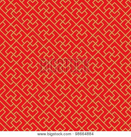 Golden seamless Chinese window tracery cross geometry line pattern background.