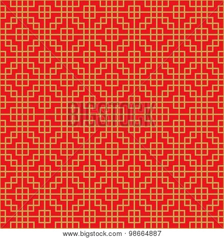 Golden seamless Chinese window tracery square cross line pattern background.