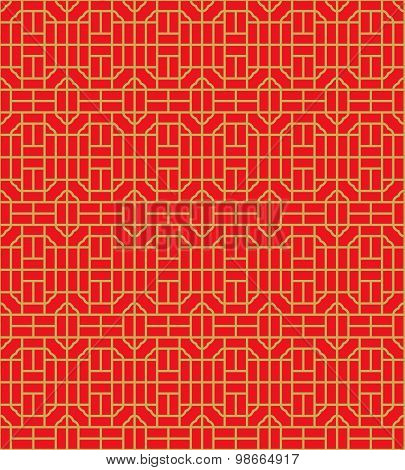 Golden seamless Chinese window tracery square geometry line pattern background.