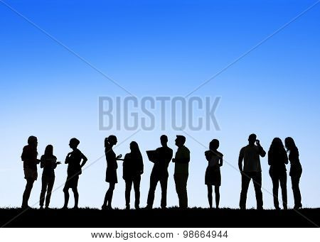 People Communication Conversation Standing Outdoors Discussion Interaction Concept