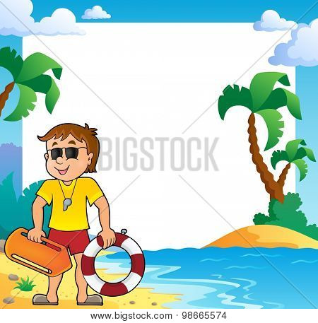 Beach theme frame with life guard - eps10 vector illustration.