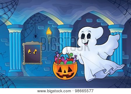 Halloween ghost in haunted castle - eps10 vector illustration.