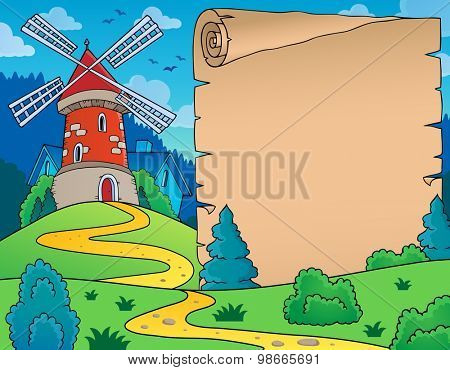 Windmill and parchment theme image - eps10 vector illustration.
