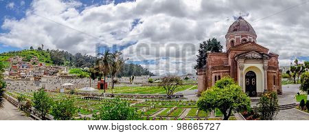 San Diego cemetary Quito spectacular view showing main building dome, green  garden and great backgo