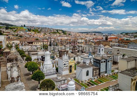 Spectacular overview of cemetary San Diego showing typical catholic graves with large gravestones an