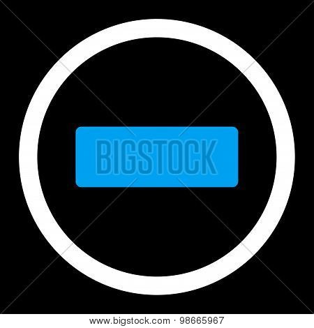 Minus flat blue and white colors rounded vector icon