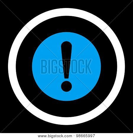 Problem flat blue and white colors rounded vector icon