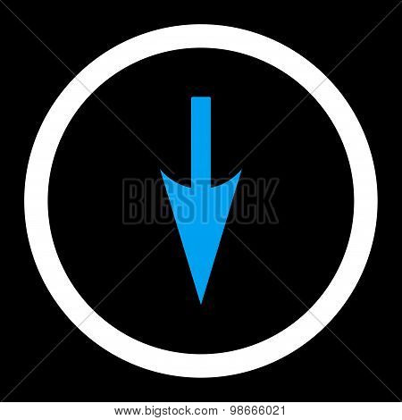Sharp Down Arrow flat blue and white colors rounded vector icon