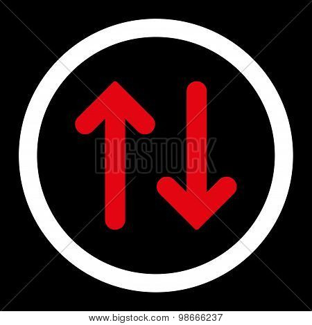 Flip flat red and white colors rounded vector icon