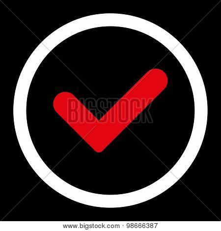 Yes flat red and white colors rounded vector icon