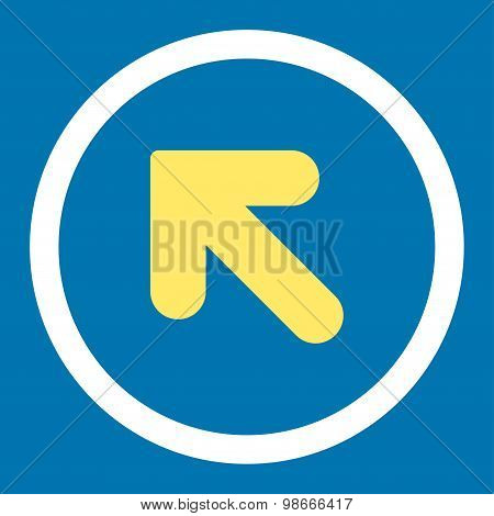 Arrow Up Left flat yellow and white colors rounded vector icon