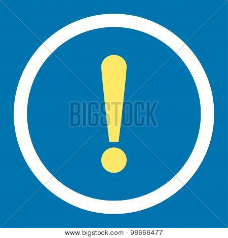 Exclamation Sign flat yellow and white colors rounded vector icon