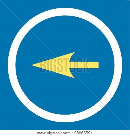Sharp Left Arrow flat yellow and white colors rounded vector icon
