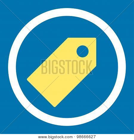 Tag flat yellow and white colors rounded vector icon