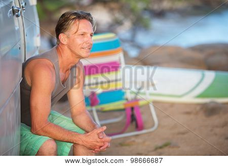 Cute Athletic Man At Beach